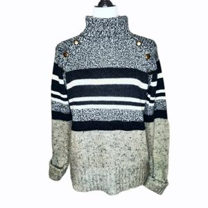Max studio striped gray wool sweater turtleneck